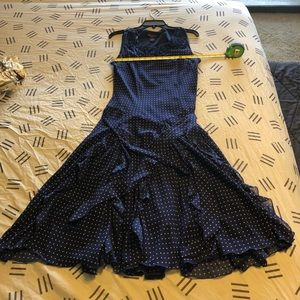 Navy blue white polka dot drop waist dress size 10
